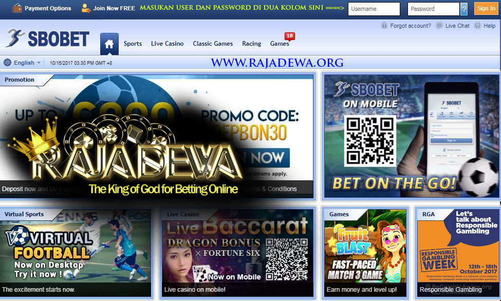 Cover Depan Video Tutorial Cara Login Sbobet Rajadewa